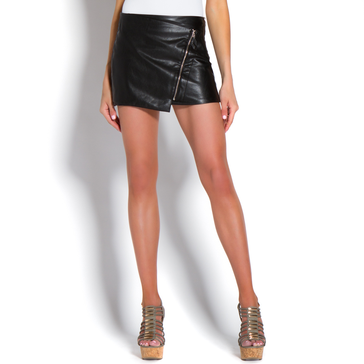 Faux Leather Mini Skirts