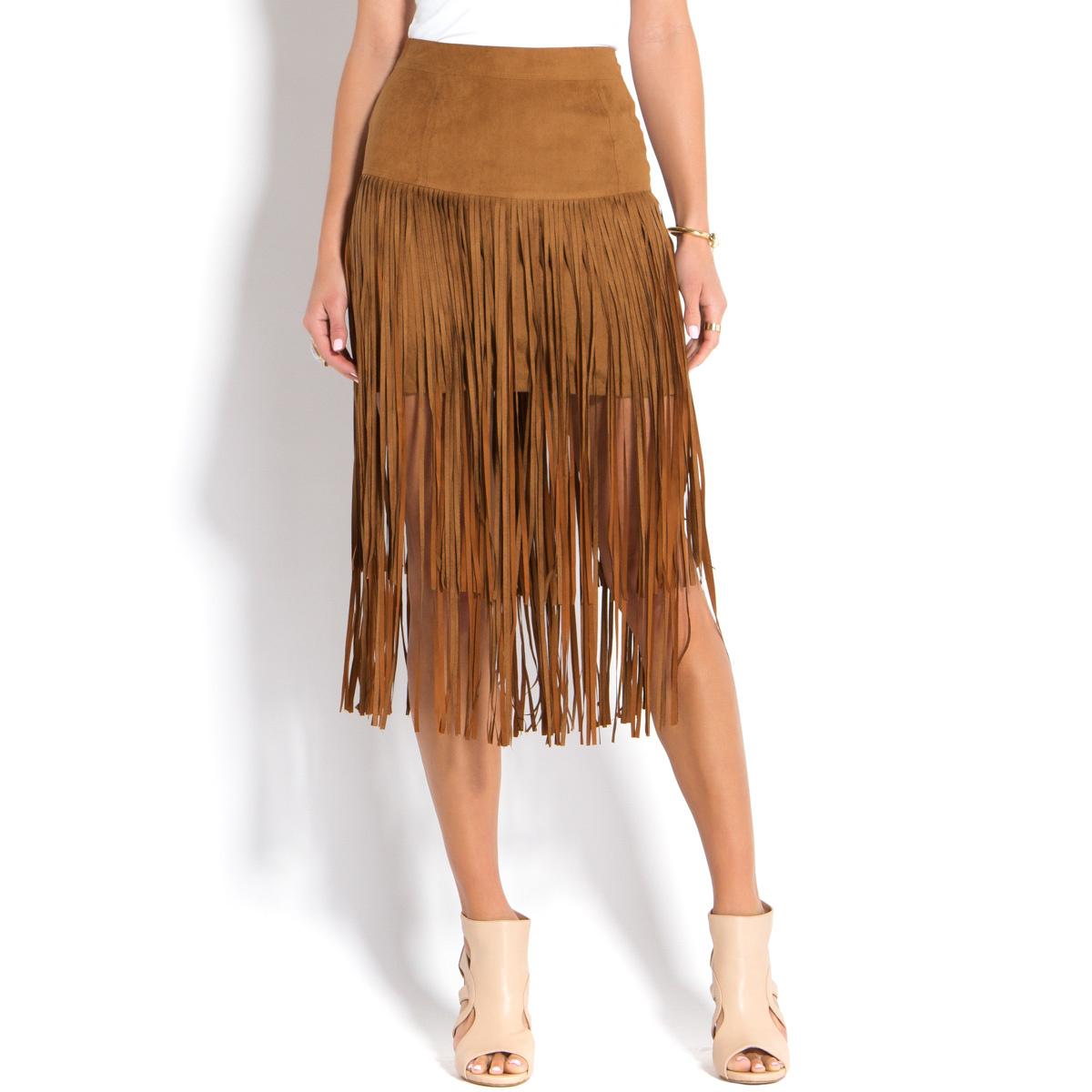 Midi Fringe Skirt Shoedazzle