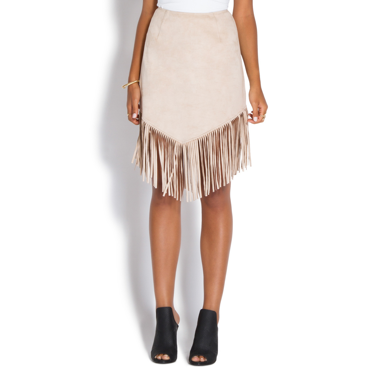 FAUX SUEDE FRINGE SKIRT - ShoeDazzle