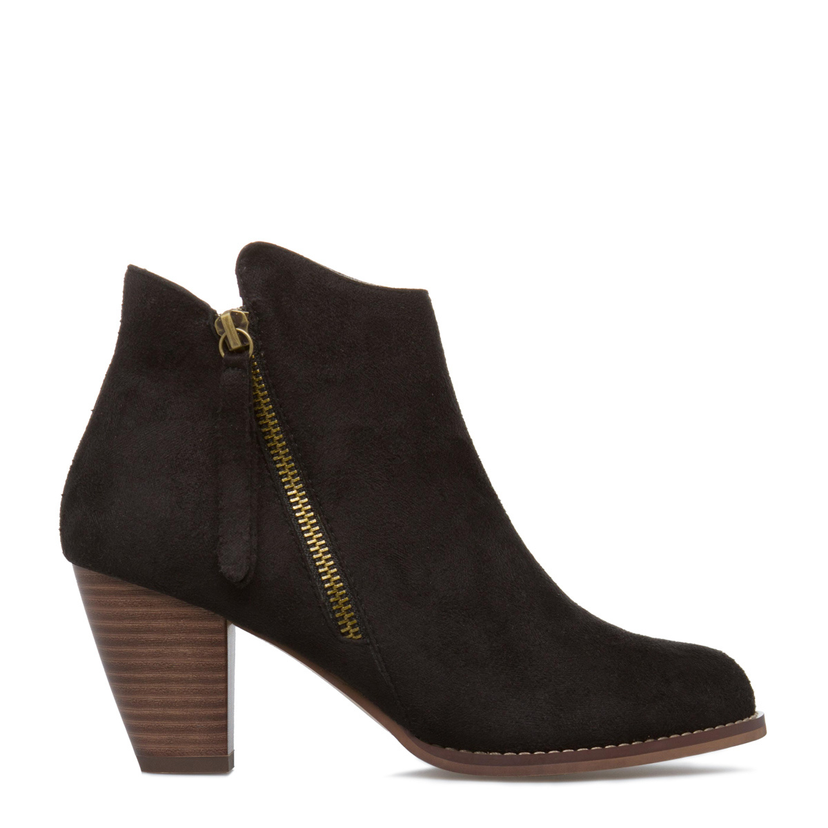 Brinley Co. Women's Ankle Wide Width Multi Strap Boots See Details Product - Brinley Co. Women's Faux Suede Geometric Laser Cut Side Split Stacked Wood Heel Booties.