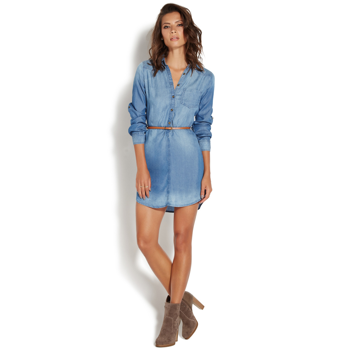 Chambray shirt dress shoedazzle for Chambray dress