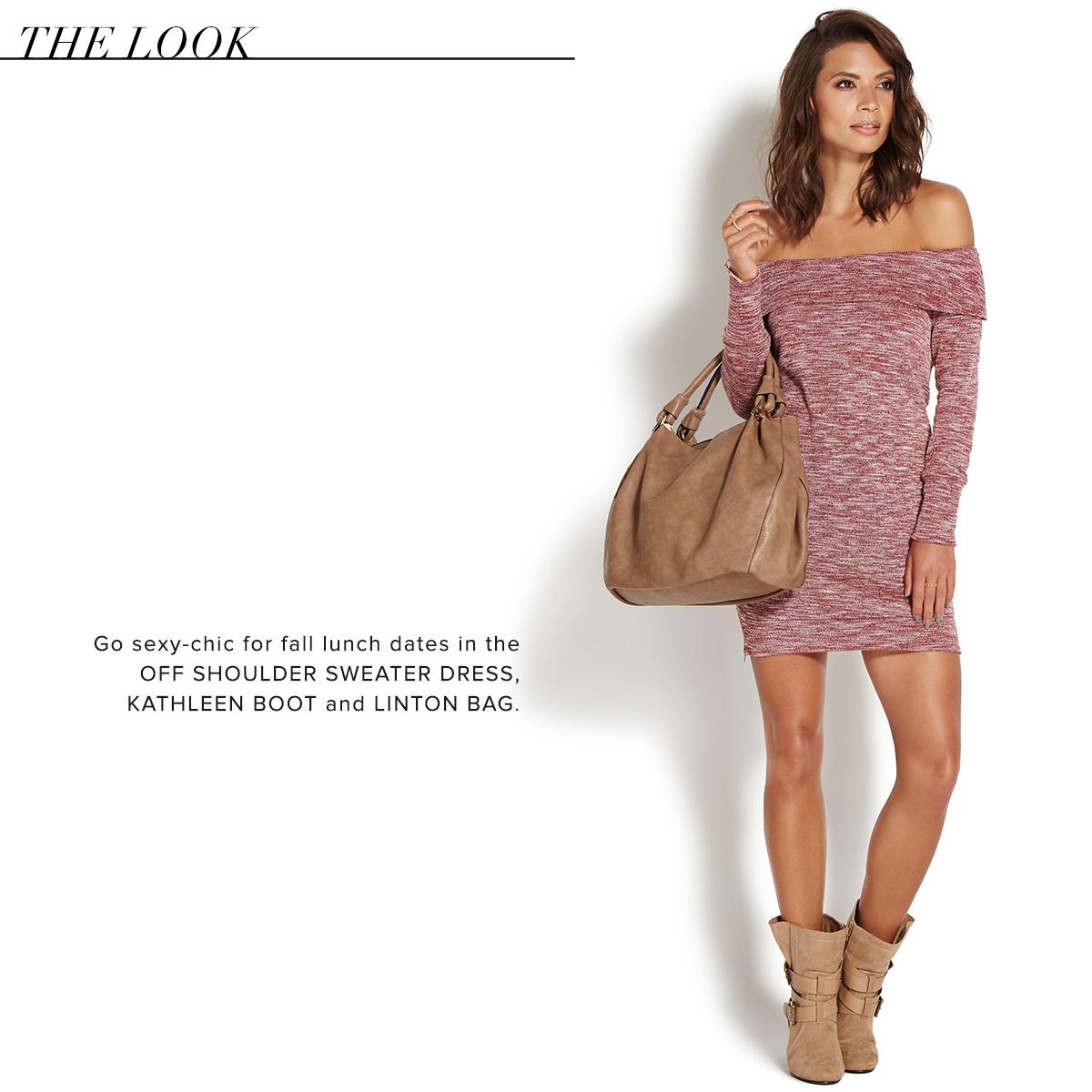 OFF SHOULDER SWEATER DRESS - ShoeDazzle