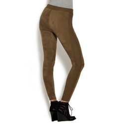 FAUX SUEDE PANELED LEGGING