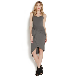 ASYMMETRICAL RUCHED KNIT DRESS