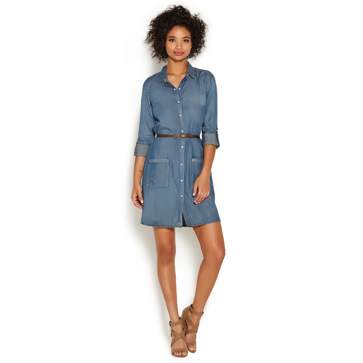 Pocket chambray dress shoedazzle for Chambray dress