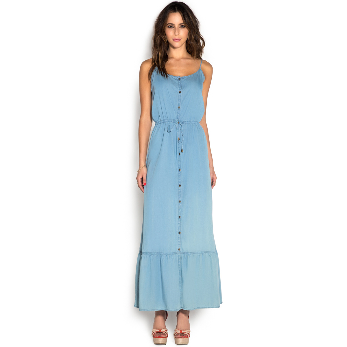 Cami maxi chambray dress shoedazzle for Chambray dress