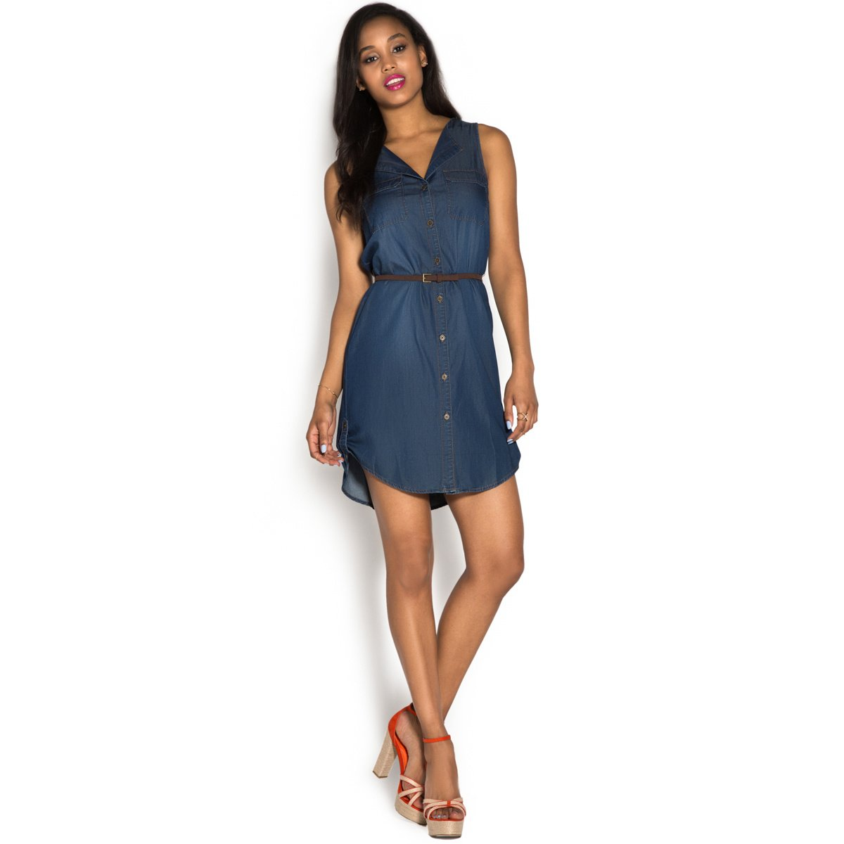 Chambray sleeveless shirt dress shoedazzle for Chambray 7 s