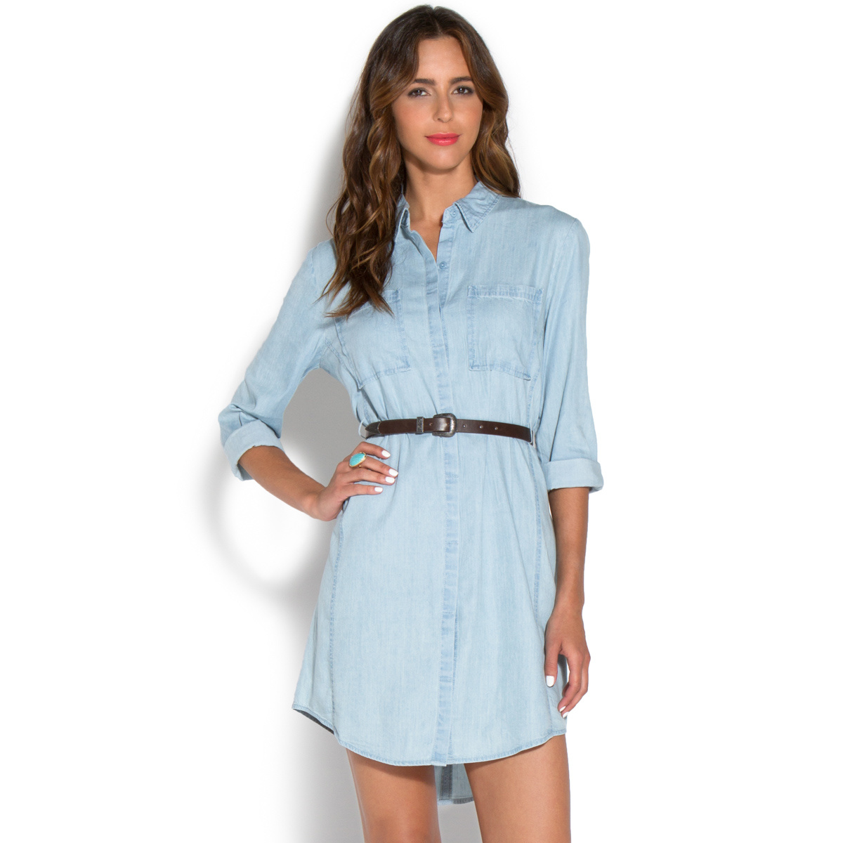 Chambray Belted Shirt Dress Shoedazzle