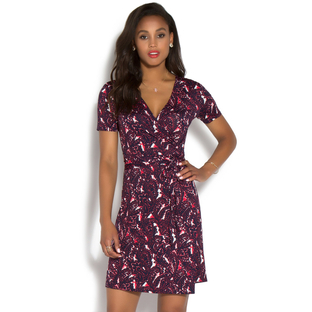 SHORT SLEEVE WRAP DRESS - ShoeDazzle
