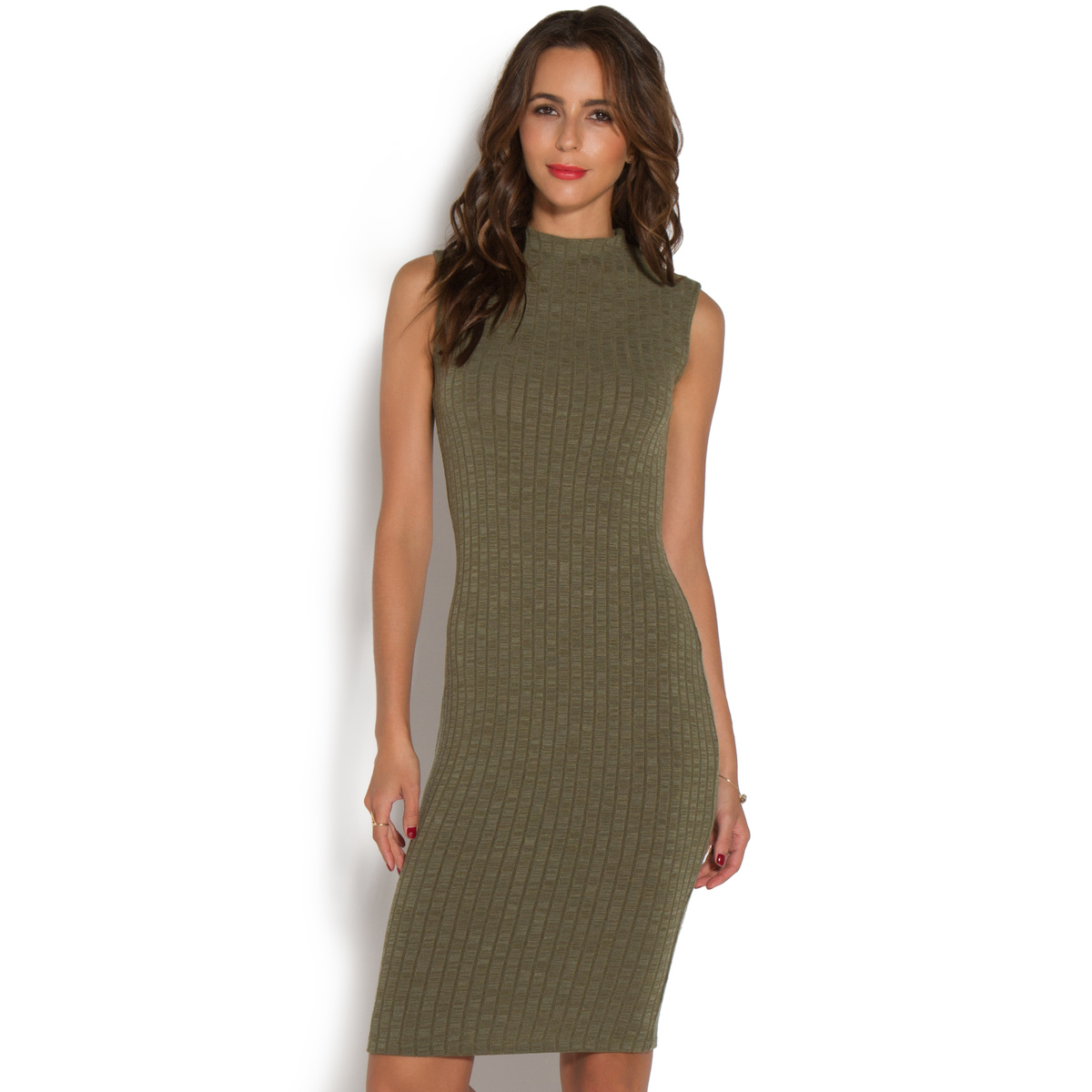 """""""""""ShoeDazzle Dresses Ribbed Mock Neck Dress Womens Green Size XL"""""""""""" DY1616870-3850-44050"""