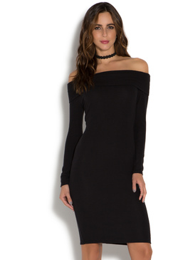 LUXE OFF SHOULDER MIDI DRESS