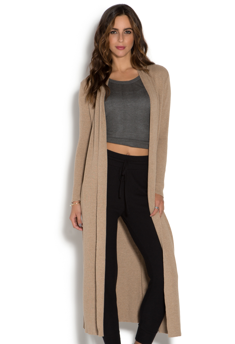 RIBBED LONGLINE CARDIGAN - ShoeDazzle