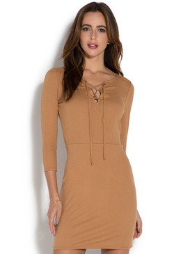 3/4 SLEEVE LACE UP DRESS