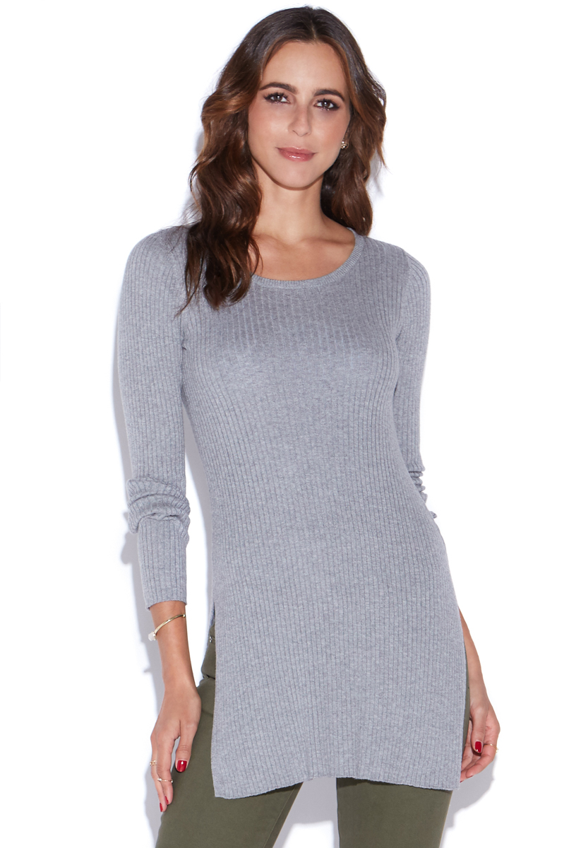 """""ShoeDazzle Tops Ribbed Sweater Tunic Womens Gray Size XXL"""""" PO1618193-0124-44060"