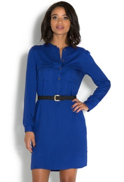 UTILITY HIGH LOW BELTED SHIRT DRESS
