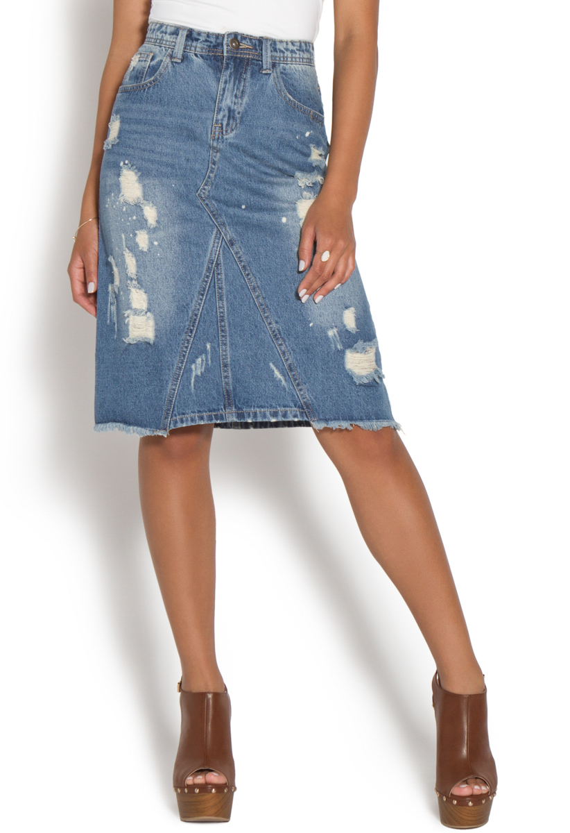 denim distressed skirt dress ala