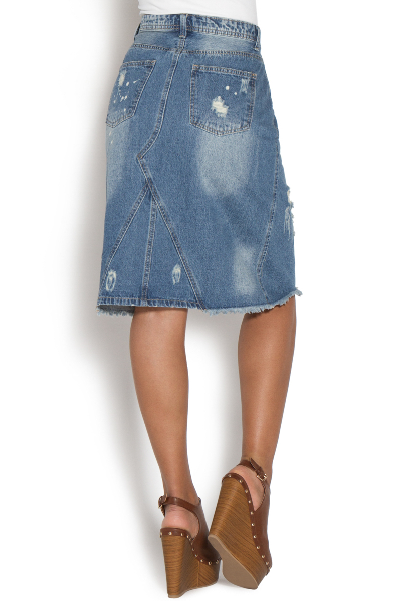 DISTRESSED DENIM SKIRT - ShoeDazzle
