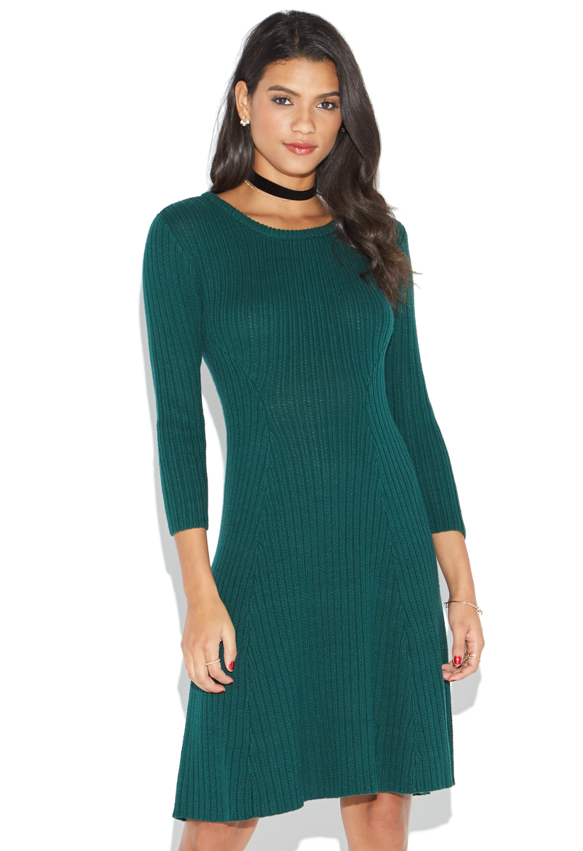 """""""""""ShoeDazzle Dresses Rib Fit & Flare Sweater Dress Womens Green Size 2X"""""""""""" DY1618666-3841-77020"""