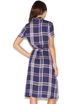 PLAID MIDI SHIRT DRESS