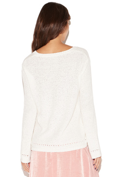 PERFORATED BELL SLEEVE SWEATER