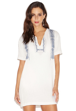 EMBROIDERED TUNIC COVER UP