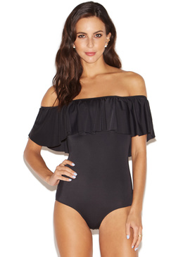 OFF THE SHOULDER RUFFLE ONE PIECE