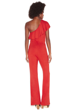 ONE SHOULDER FLOUNCE JUMPSUIT