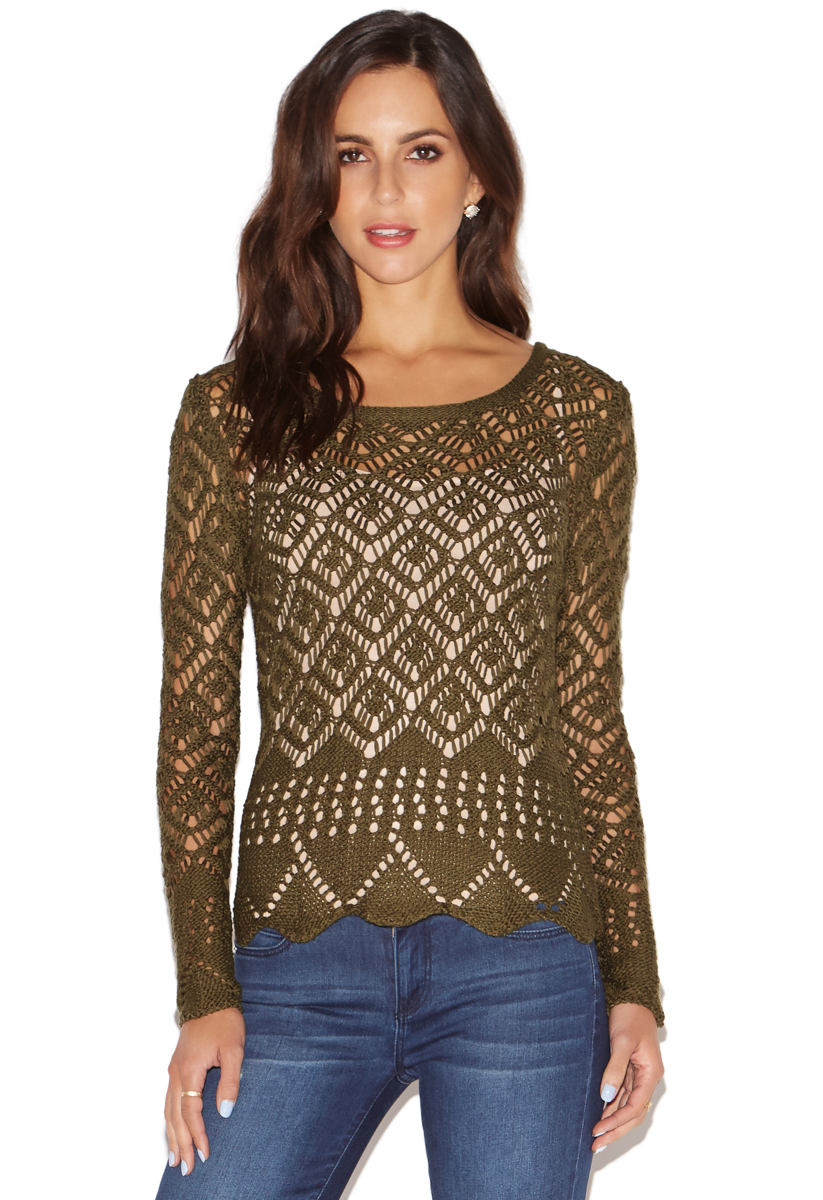 OPEN KNIT CROCHET SWEATER - ShoeDazzle