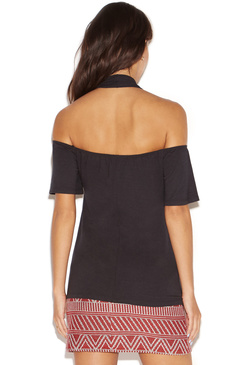 TIE NECK COLD SHOULDER TOP