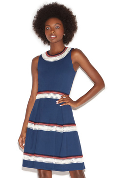 NOVELTY TRIM FIT & FLARE DRESS