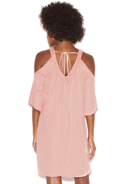 V-FRONT V-BACK COLD SHOULDER DRESS