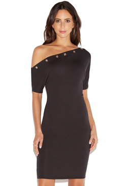 OFF SHOULDER DRESS WITH GROMMETS