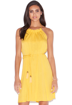 RUFFLE NECK HALTER DRESS