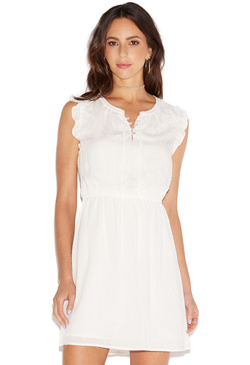 SWISS DOT RUFFLE SLEEVE DRESS