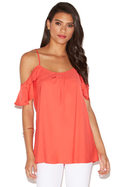 COLD SHOULDER FLUTTER TOP