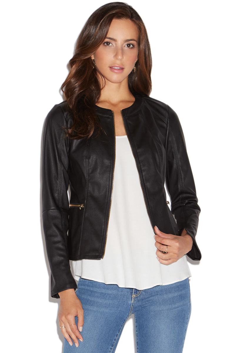 Faux leather jacket for women
