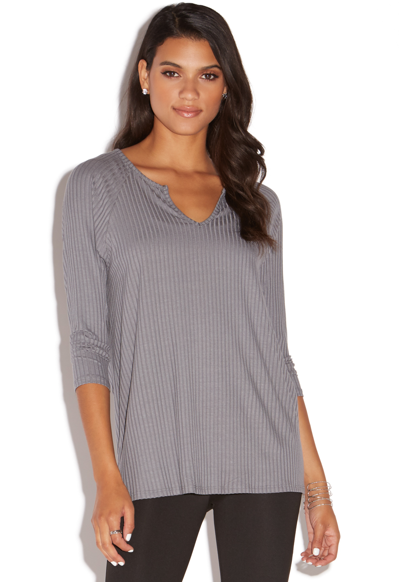 """""ShoeDazzle Raglan Rib Knit Top Womens Smoke Size M"""""" KT1722078-0903-44030"