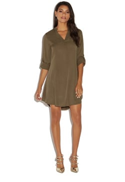 SHIFT ROLL-TAB SHIRT DRESS