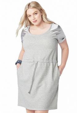 a71c1061e5b SATIN SHOULDER SWEATSHIRT DRESS ...