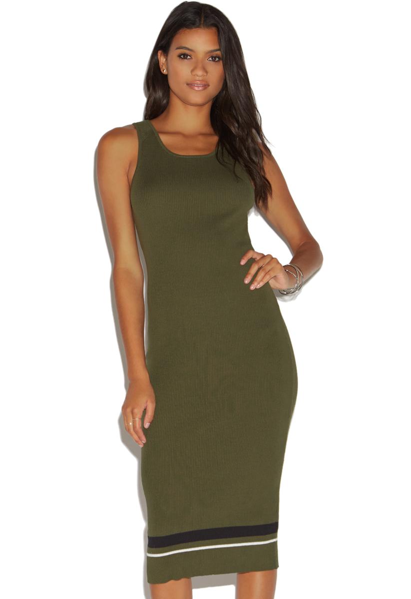 """""""""""ShoeDazzle Rib Stripe Dress Womens Dark Olive Size XS"""""""""""" DY1721941-3862-44010"""
