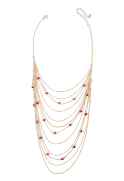 BEADED AND CHAINED NECKLACE