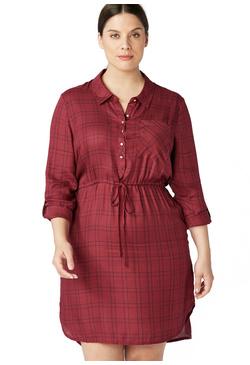 96223b497a4f PLAID DRAWSTRING SHIRT DRESS ...