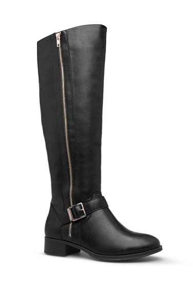 bfd4bece5bd12 Material: Faux-leather. Imported. Color: BLACK; Sizing: Shaft height & calf  circumference increases or decreases by 0.5