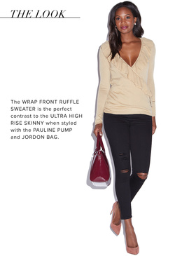 WRAP FRONT RUFFLE SWEATER