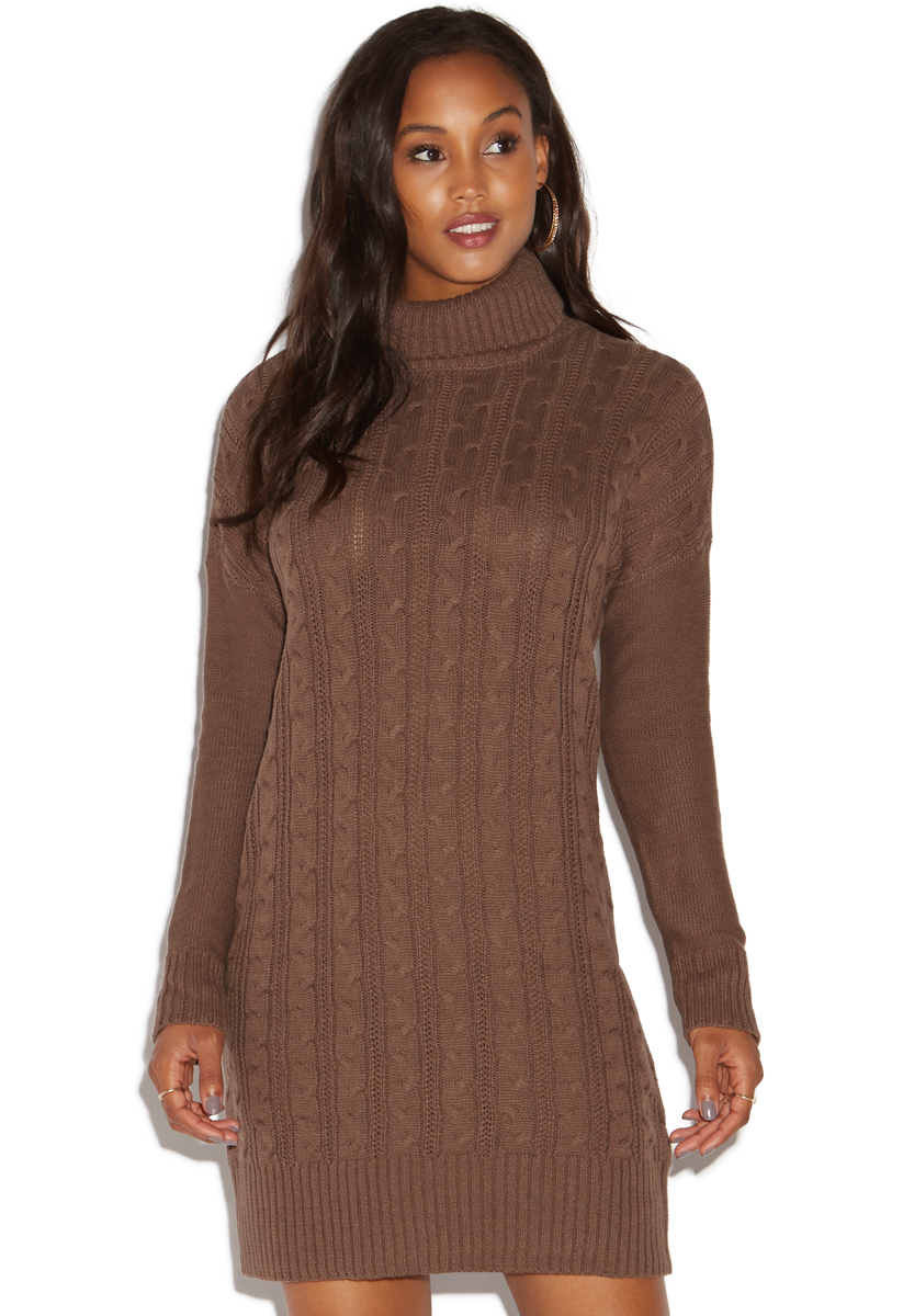 RELAXED CABLE KNIT SWEATER DRESS - ShoeDazzle