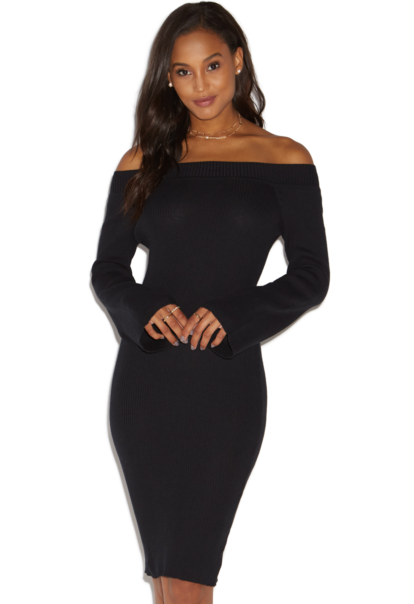OFF SHOULDER SWEATER DRESS - ShoeDazzle