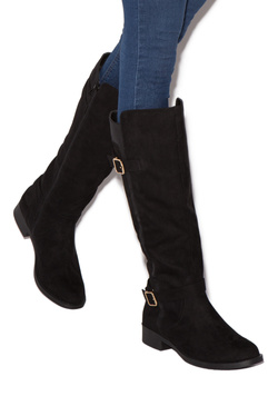 ADELE MIXED-MATERIAL FLAT BOOT