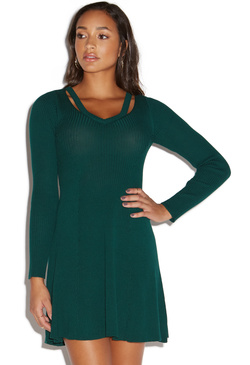 0d15ee6f413 CUTOUT FIT AND FLARE SWEATER DRESS - ShoeDazzle