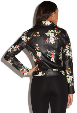 PRINTED FAUX LEATHER JACKET