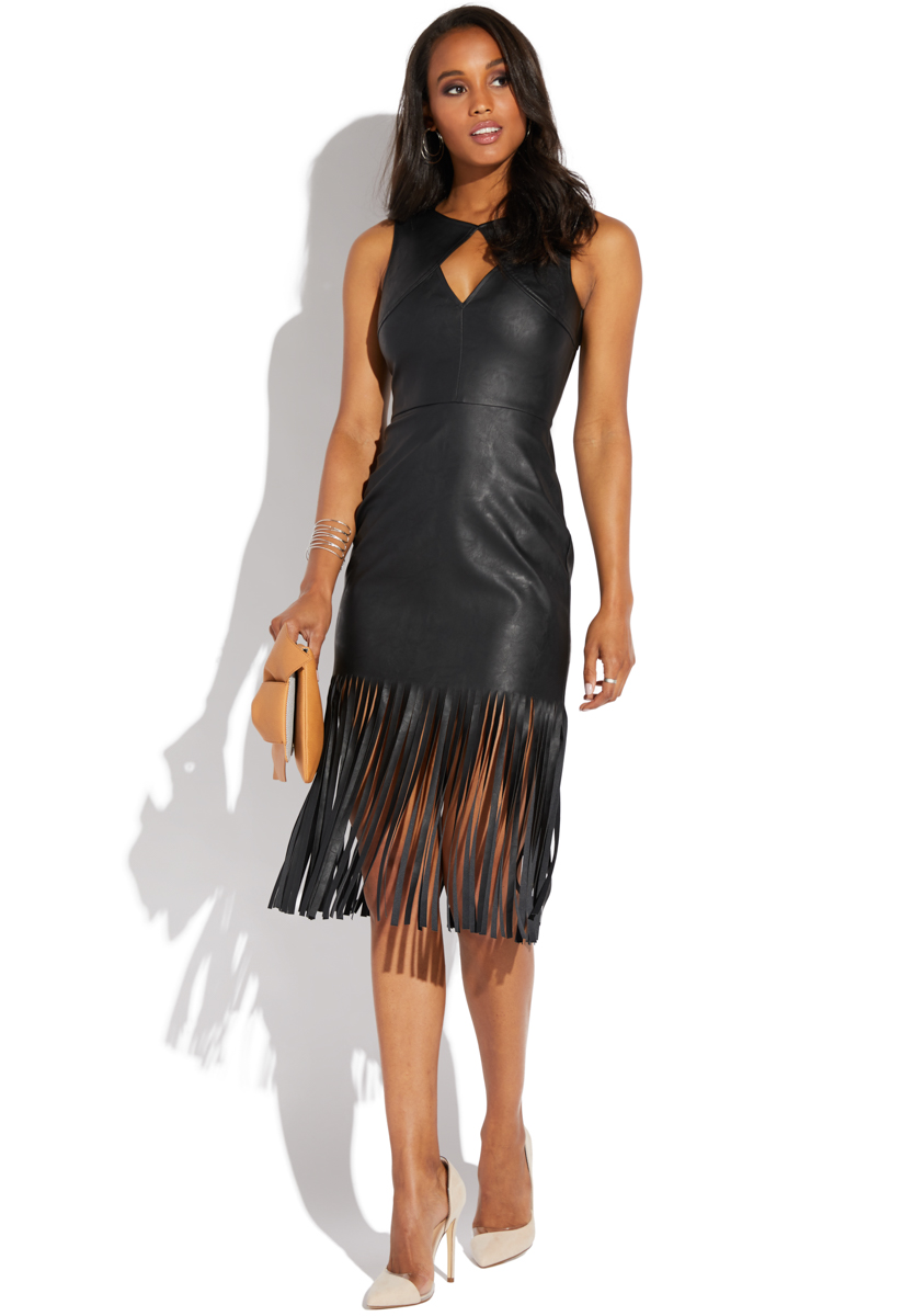 FAUX LEATHER FRINGE DRESS